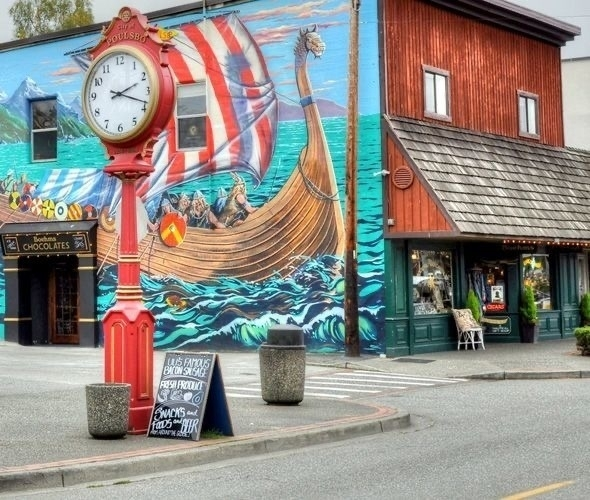 Poulsbo clock and mural